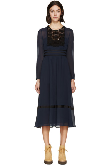 Burberry Prorsum - Navy Silk & Lace Dress