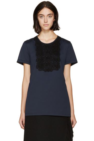 Burberry Prorsum - Navy Lace Appliqué T-Shirt