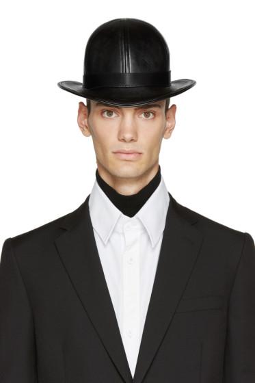 KTZ - Black Faux-Leather Short Bowler Hat