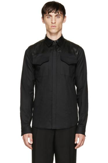 Costume National - Black Leather & Cotton Shirt