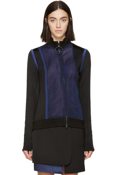 Paco Rabanne - Black & Navy Mesh Zip-Up Sweater