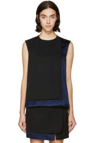 Paco Rabanne - Black & Navy Satin Panel Top