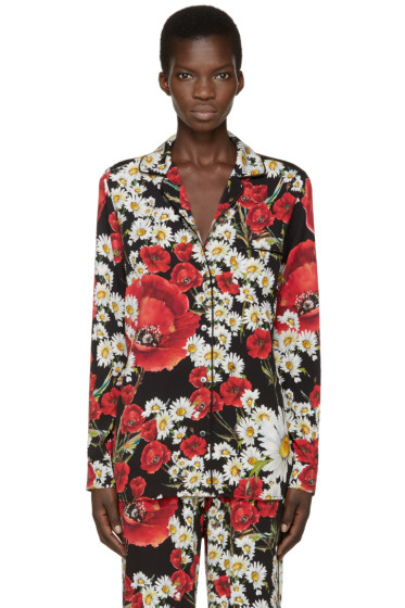 Dolce & Gabbana - Red & Black Floral Pyjama Shirt