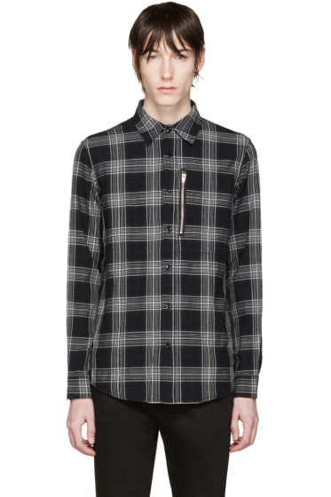 R13 - Black Plaid Zip Shirt