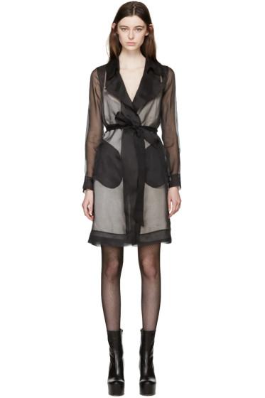 Maison Margiela - Black Silk Organza Trench Coat