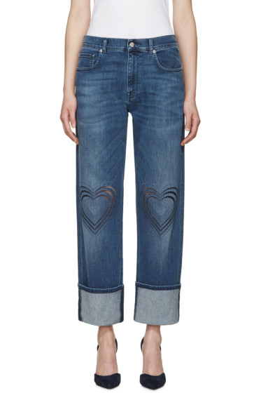 Christopher Kane - Blue Love Heart Boyfriend Jeans