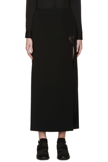 Christopher Kane - Black Slit Love Heart Long Skirt