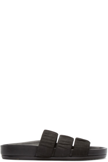 Rick Owens - Black Leather Granola Sandals
