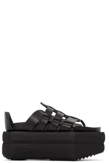 Rick Owens - Black Leather Gladiator Sandals