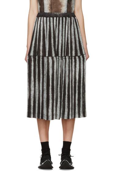 Comme des Garçons - Black & Grey Pleated Ink Jet Skirt