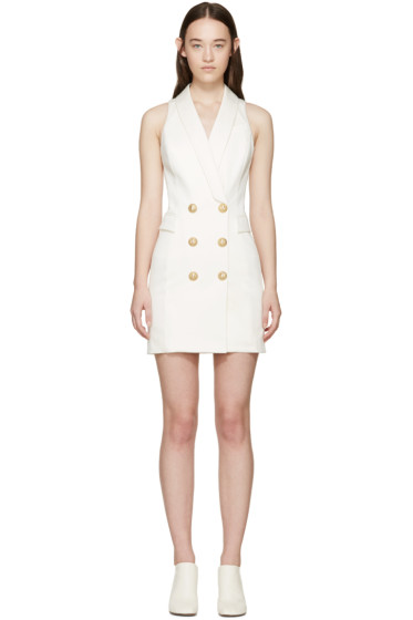 Balmain - Ivory Short Tuxedo Dress