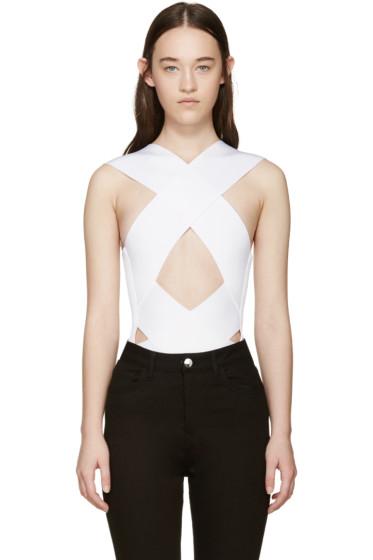 Balmain - White Rib Knit Criss-Cross Bodysuit