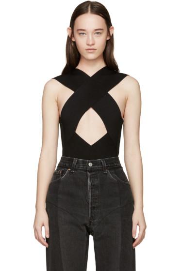 Balmain - Black Rib Knit Criss-Cross Bodysuit