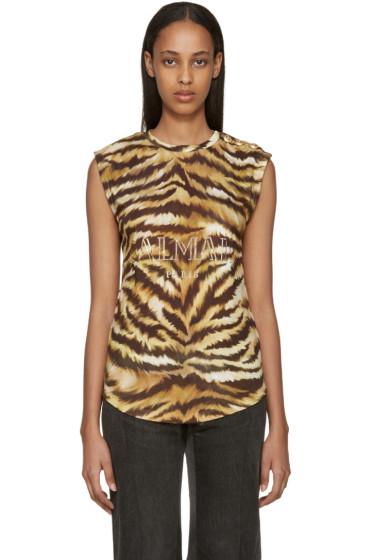 Balmain - Gold & Brown Zebra Logo T-Shirt