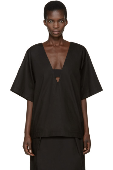 Damir Doma - Black Deep V-Neck Tarida Top