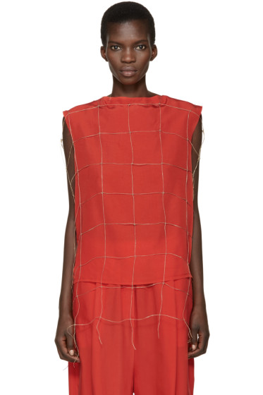 Damir Doma - Red Net Tetrix Blouse