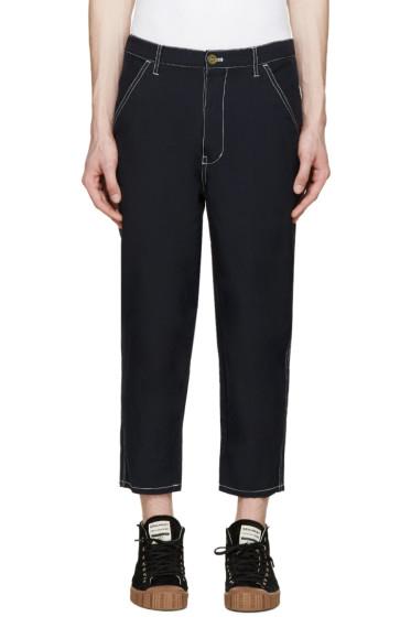Comme des Garçons Shirt - Navy Contrast Stitch Trousers
