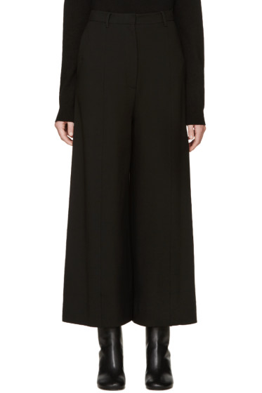 Givenchy - Black Cropped Wide-Leg Trousers