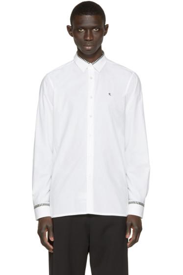 Raf Simons - White Plaid Trim Logo Shirt