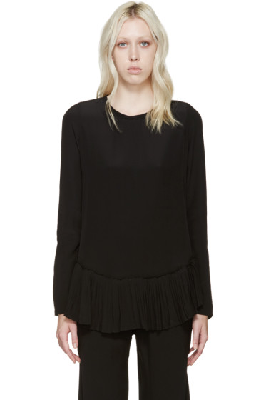 Chloé - Black Silk Pleated Blouse