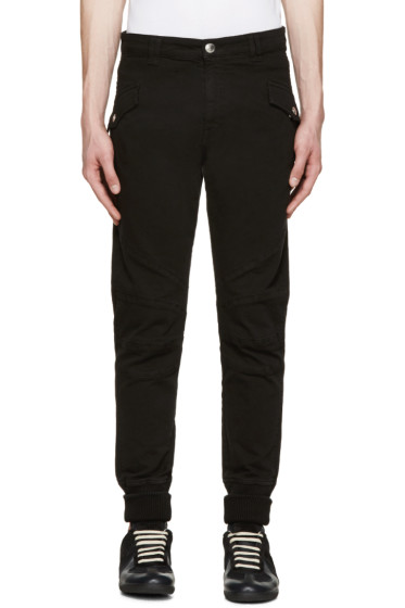Pierre Balmain - Black Ribbed Cuff Biker Trousers
