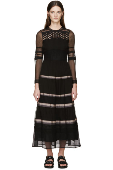 Burberry Prorsum - Black Silk Ribbon Striped Dress