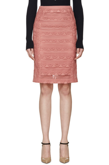 Burberry Prorsum - Pink Tiered French Lace Skirt
