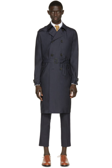 Burberry Prorsum - Navy Silk-Wool Trench Coat