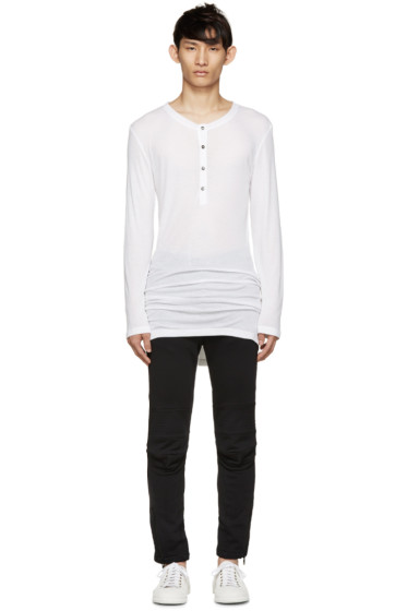 Ann Demeulemeester - White Long Ribbed Henley