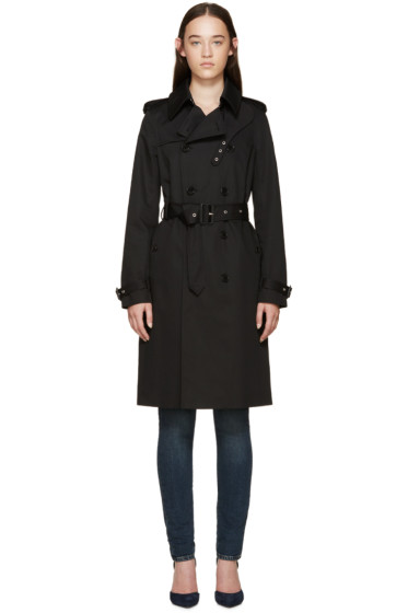 Saint Laurent - Black Gabardine Trench Coat