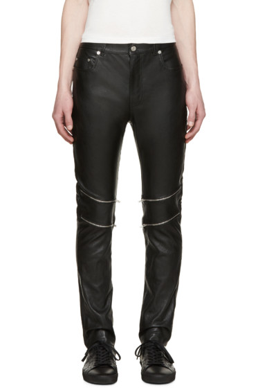 Saint Laurent - Black Leather Zippered Pants