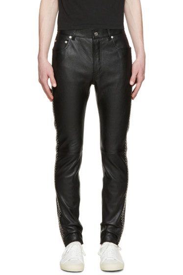 Saint Laurent - Black Leather Studded Trousers