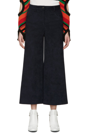 MSGM - Navy Faux-Suede Cropped Trousers