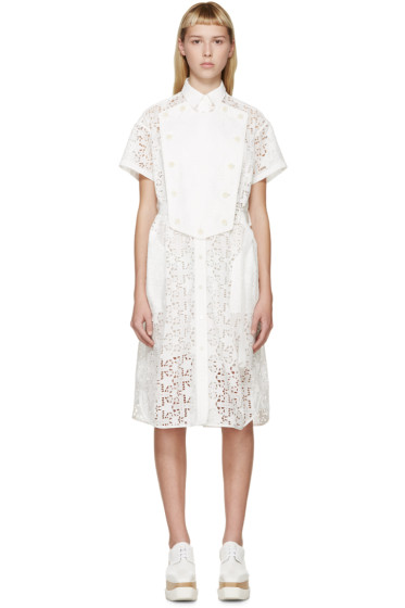 Sacai - White Belted Star Lace Dress