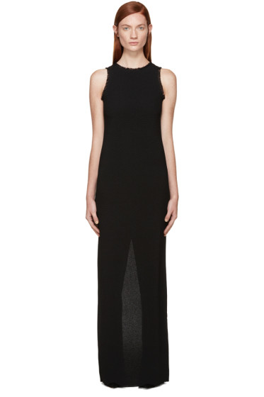 Nina Ricci - Black Fringed Crepe Long Dress