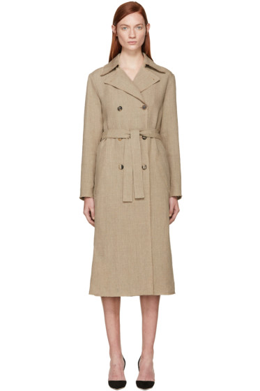 Nina Ricci - Beige Linen Canvas Trench Coat