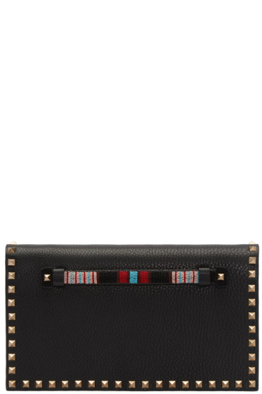 Valentino - Black Leather Beaded Rockstud Clutch