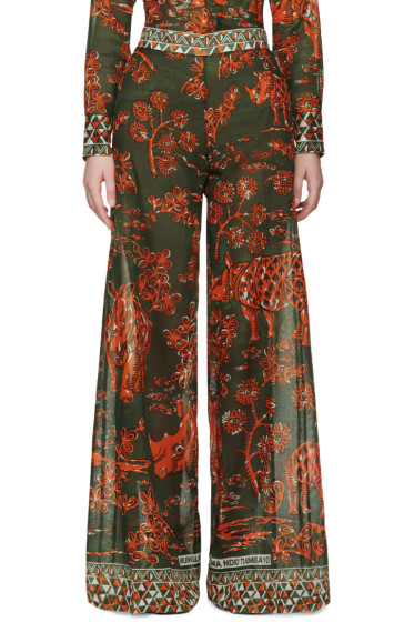Valentino - Green & Orange Rhino Trousers
