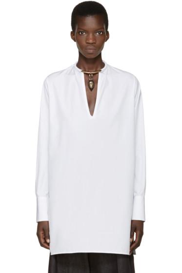 Valentino - White Poplin Warrior Collar Tunic