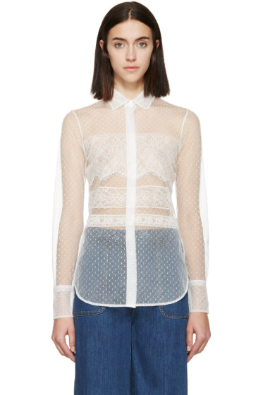 Valentino - White Lace Point D'Esprit Blouse