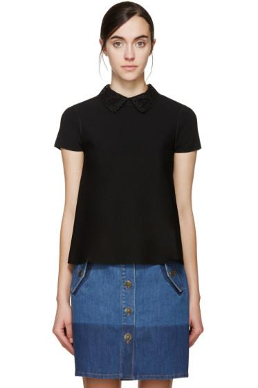 Valentino - Black Flared Lace Collar Top