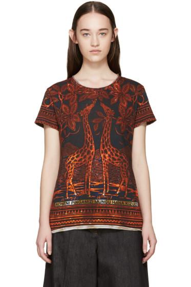 Valentino - Black & Orange Giraffe T-Shirt