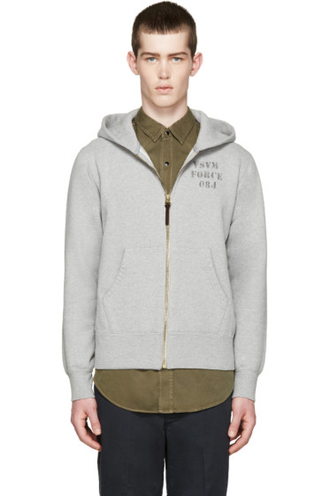 Visvim - Grey Stencil Zip-Up Hoodie