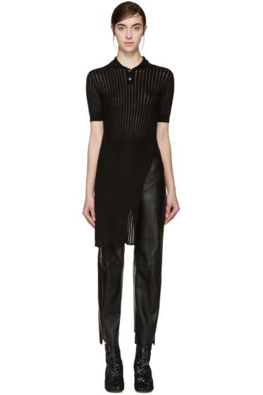 Yang Li - Black Long Knit Polo
