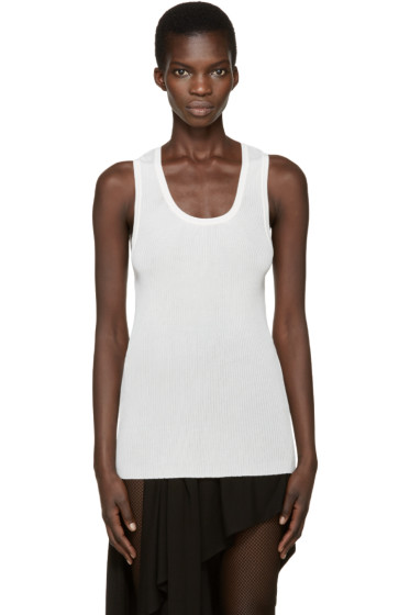 Anthony Vaccarello - Cream Ribbed Tank Top