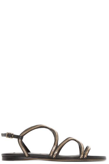 Jimmy Choo - Black Leather Curb Chain Sandals