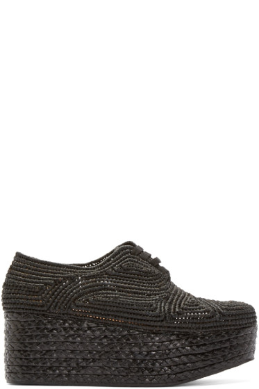 Robert Clergerie - Black Platform Raffia Pinto Shoes