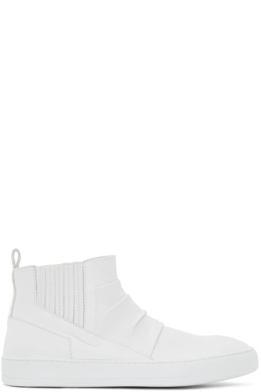 Alexandre Plokhov - White Creased Leather Mid-Top Sneakers