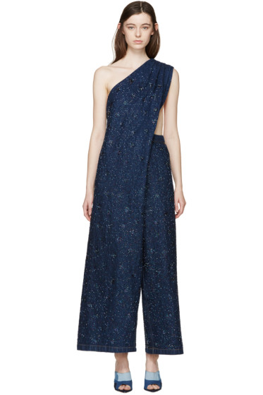Ashish - Indigo Denim Beaded Jumpsuit