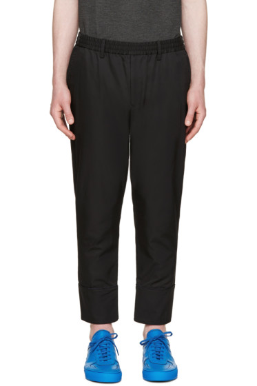 Undecorated Man - Black Twill Piped Trousers